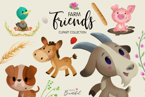 Farm Friends Clipart Collection 01 Graphic Illustrations By usefulbeautiful
