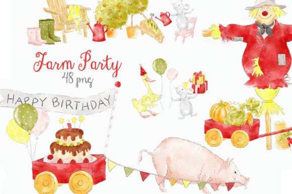 Farm Party Barnyard Cute Animals Clipart Gráfico Ilustraciones Por kabankova