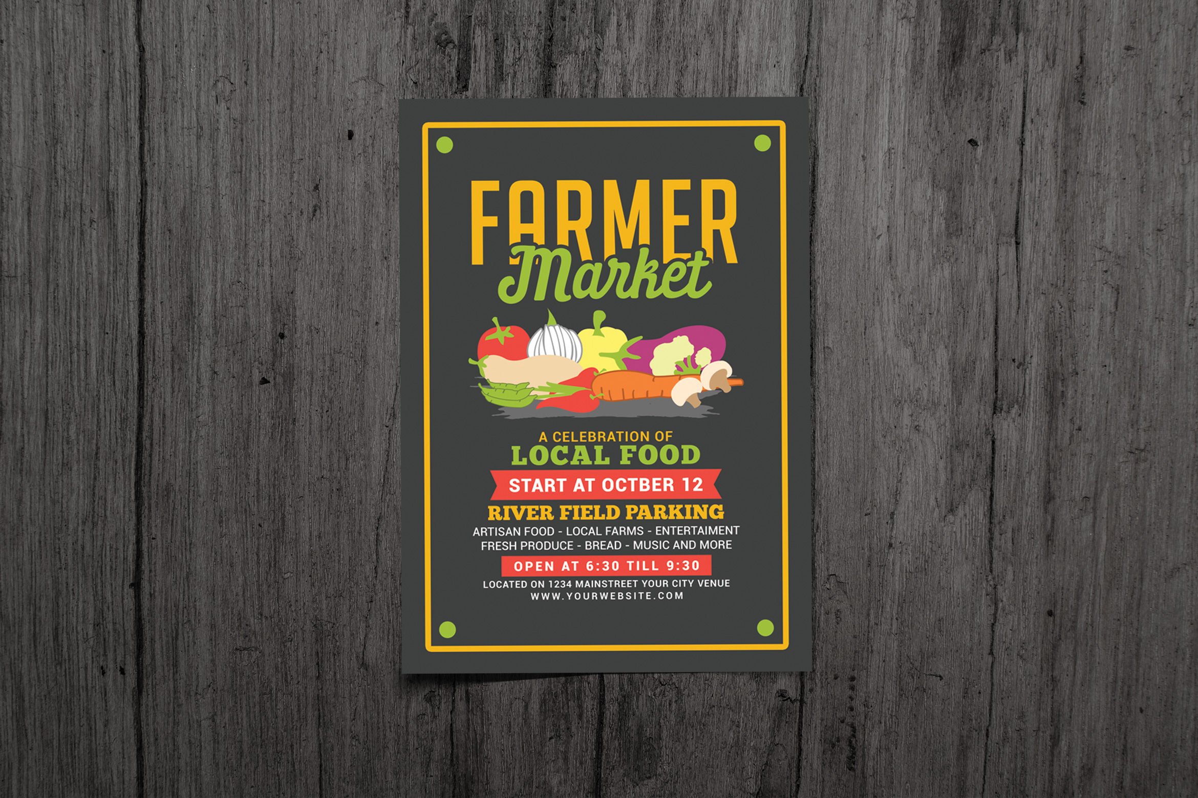 Download Free Farmer Food Market Flyer Graphic By Muhamadiqbalhidayat Creative Fabrica for Cricut Explore, Silhouette and other cutting machines.
