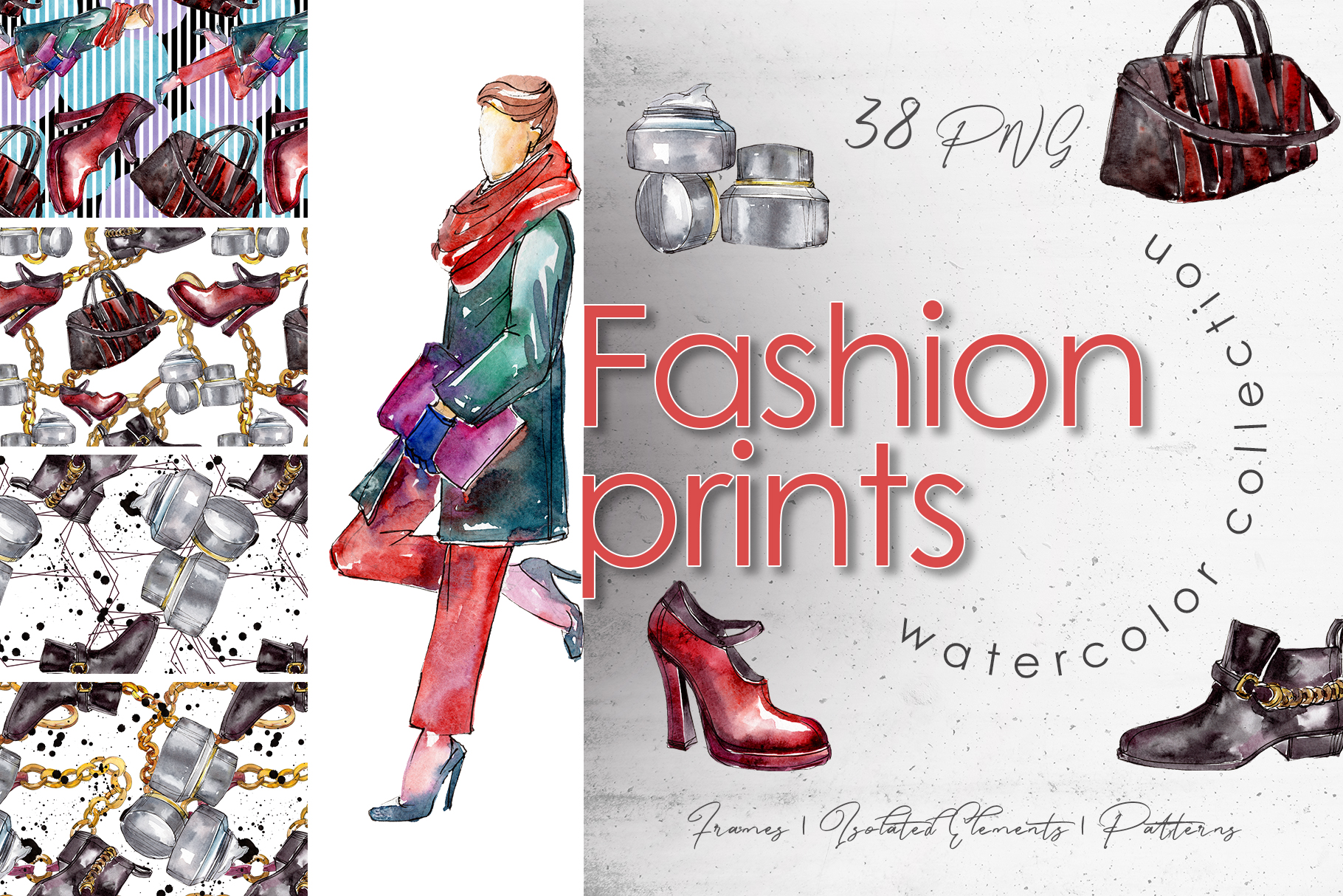 Download Free Fashion Prints Watercolor Graphic By Mystocks Creative Fabrica for Cricut Explore, Silhouette and other cutting machines.