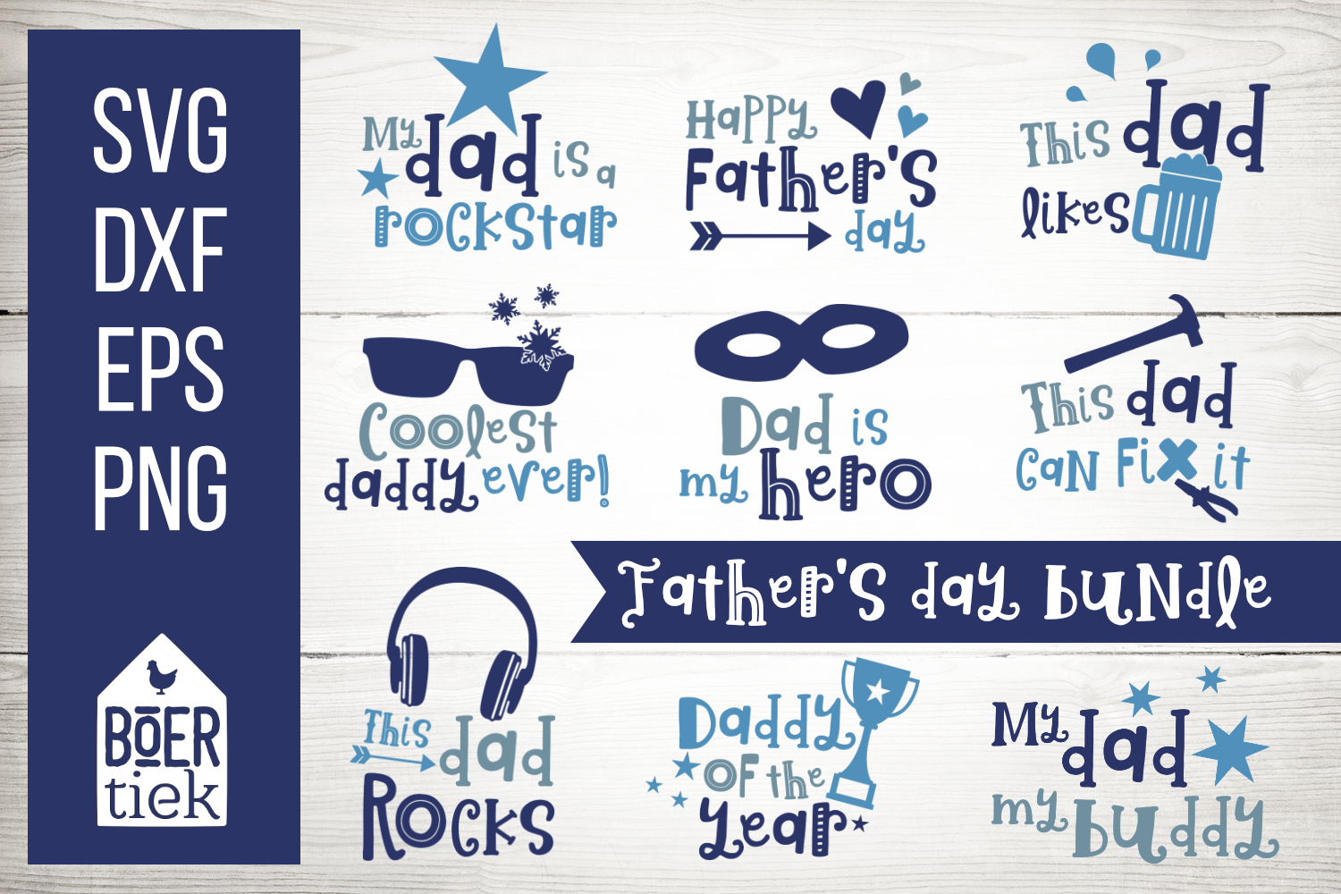 Download Free Father S Day Bundle Graphic By Boertiek Creative Fabrica for Cricut Explore, Silhouette and other cutting machines.
