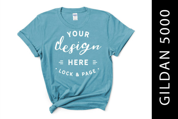 Female Sky Gildan 5000 T-Shirt Mockup Graphic Product Mockups By lockandpage