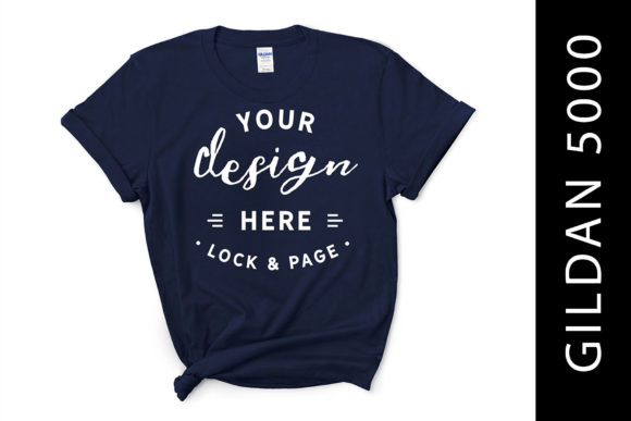 Download Free Feminine Navy Gildan 5000 T Shirt Mockup Graphic By Lockandpage Creative Fabrica for Cricut Explore, Silhouette and other cutting machines.
