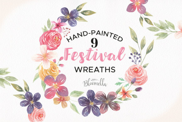 Festival 9 Wreath Set Flowers Garlands Graphic Illustrations By Bloomella