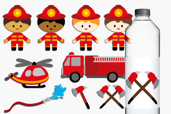 Print on Demand: Firefighter Boys Graphic Illustrations By Revidevi
