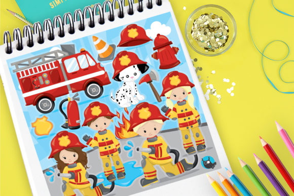 Print on Demand: Firefighter Dog Boys and Girls Graphic Illustrations By Prettygrafik