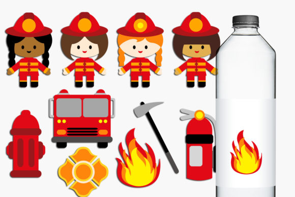 Print on Demand: Firefighter Girls Graphic Illustrations By Revidevi
