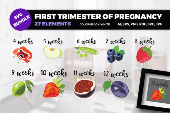 Print on Demand: First Trimester of Pregnancy SVG Graphic Crafts By duka
