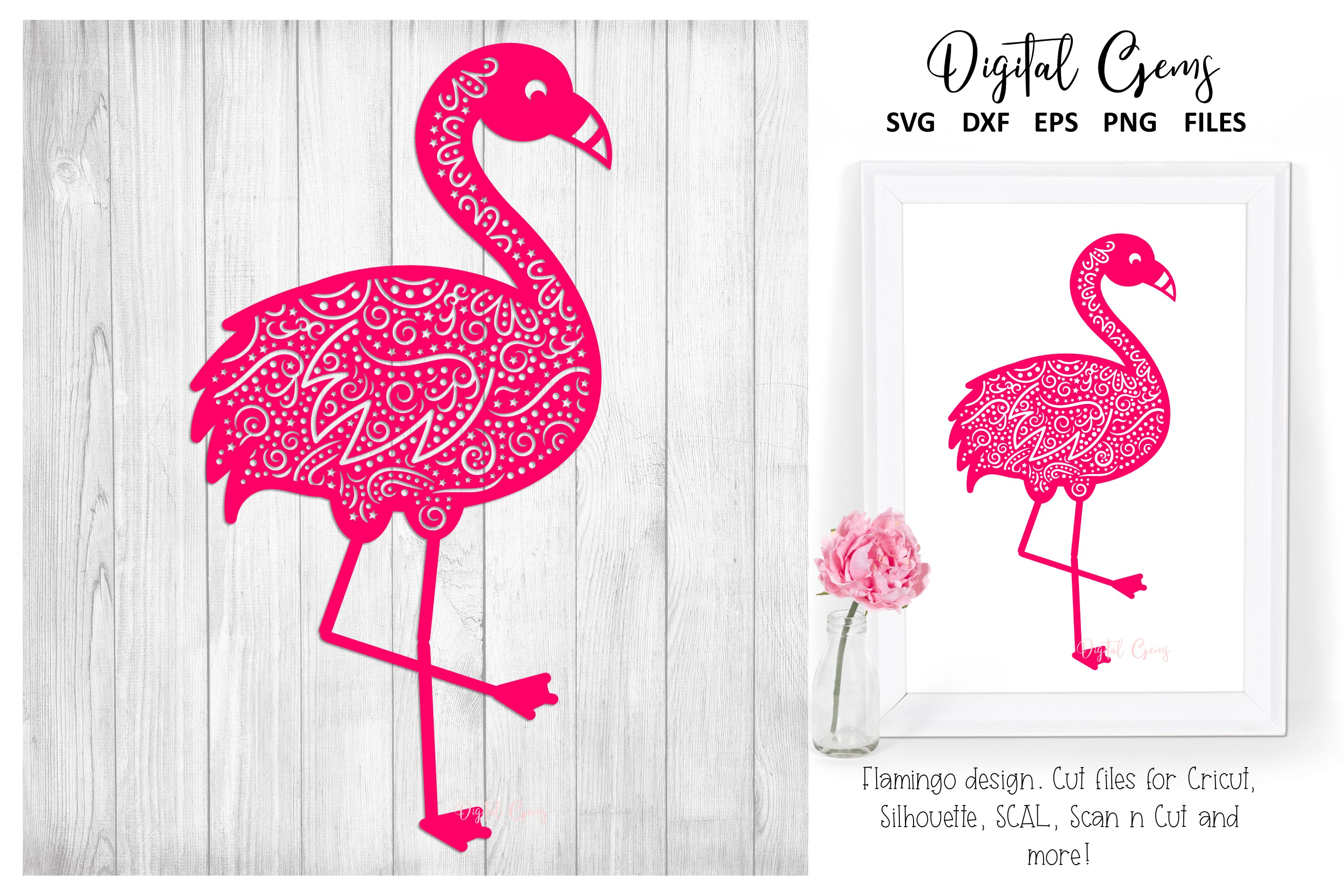 Download Free Flamingo Design Graphic By Digital Gems Creative Fabrica for Cricut Explore, Silhouette and other cutting machines.