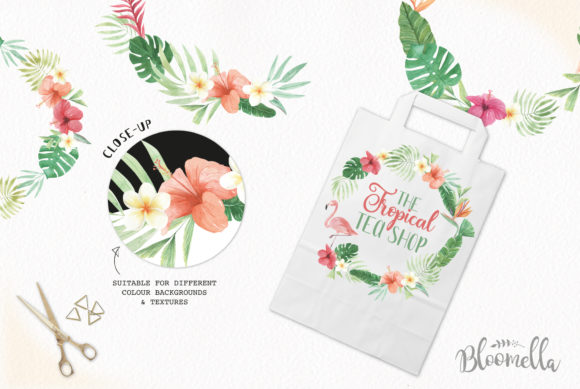 Flamingo Tucan Wreath Watercolor Parrot Graphic Illustrations By Bloomella - Image 5