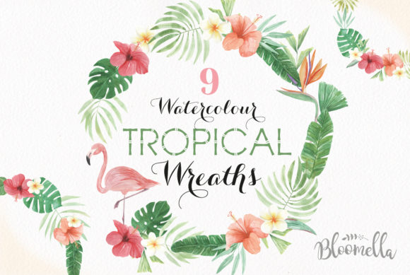 Flamingo Tucan Wreath Watercolor Parrot Graphic Illustrations By Bloomella - Image 1