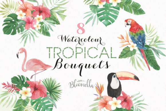 Flamingo Watercolor Bouquets Parrot Set Graphic Illustrations By Bloomella