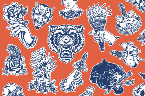Download Free Flash Tattoo Vector Pack Graphic By Studio Sun Creative Fabrica for Cricut Explore, Silhouette and other cutting machines.