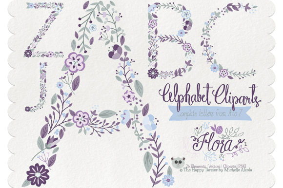 Print on Demand: Flora 01 Letters – Purple & Pink Graphic Illustrations By Michelle Alzola