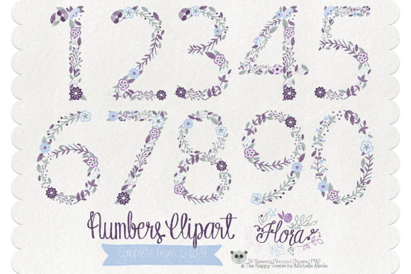 Flora 01 Numbers – Purple & Pink Graphic Download