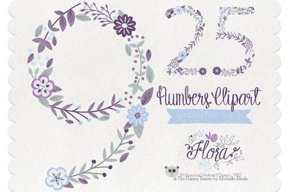 Flora 01 Numbers – Purple & Pink Graphic
