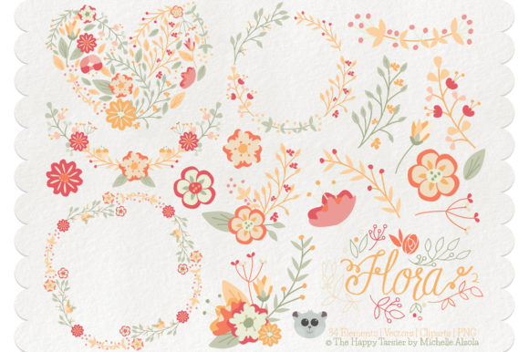 Print on Demand: Flora 02 – Orange & Peach Graphic Illustrations By Michelle Alzola - Image 1