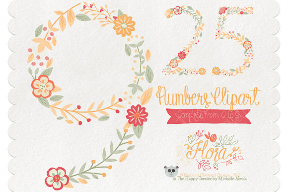 Print on Demand: Flora 02 Numbers – Orange & Peach Graphic Illustrations By Michelle Alzola
