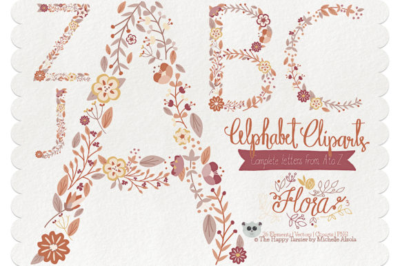 Print on Demand: Flora 03 Letters – Brown & Tan Graphic Illustrations By Michelle Alzola
