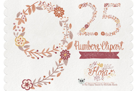 Flora 03 Numbers – Brown & Tan Graphic By Michelle Alzola