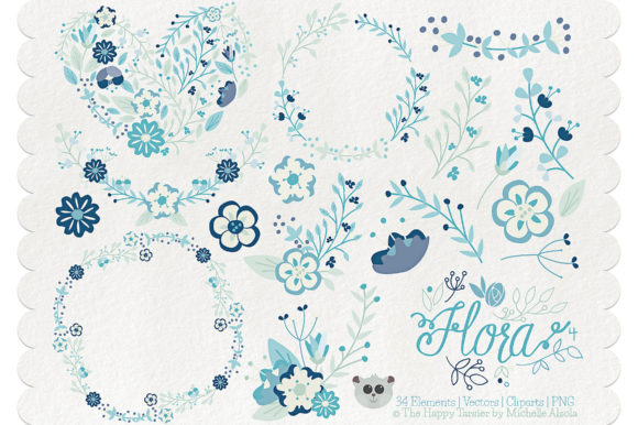 Print on Demand: Flora 04 – Blue & Teal Graphic Illustrations By Michelle Alzola
