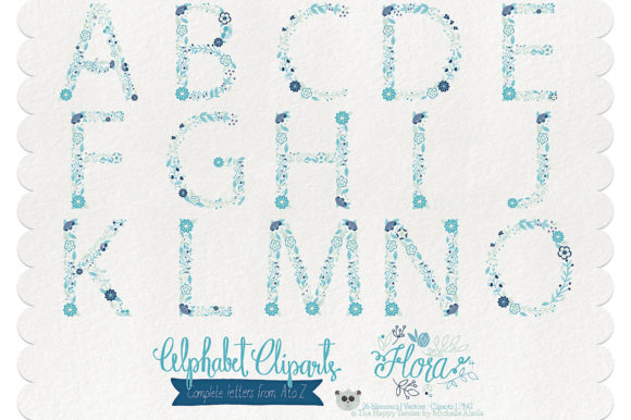 Print on Demand: Flora 04 Letters – Blue & Teal Graphic Illustrations By Michelle Alzola - Image 2