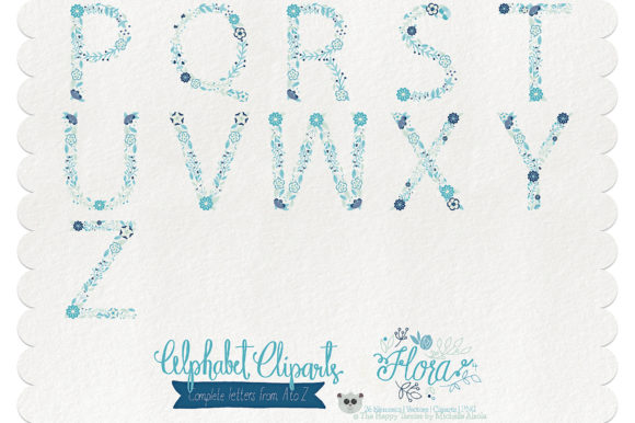 Flora 04 Letters – Blue & Teal Graphic By Michelle Alzola Image 3