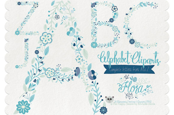 Flora 04 Letters – Blue & Teal Graphic By Michelle Alzola Image 1