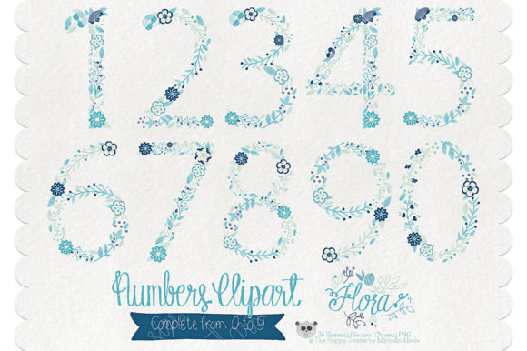 Flora 04 Numbers – Blue & Teal Graphic Download