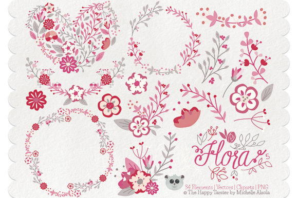 Print on Demand: Flora 05 – Red & Pink Graphic Illustrations By Michelle Alzola