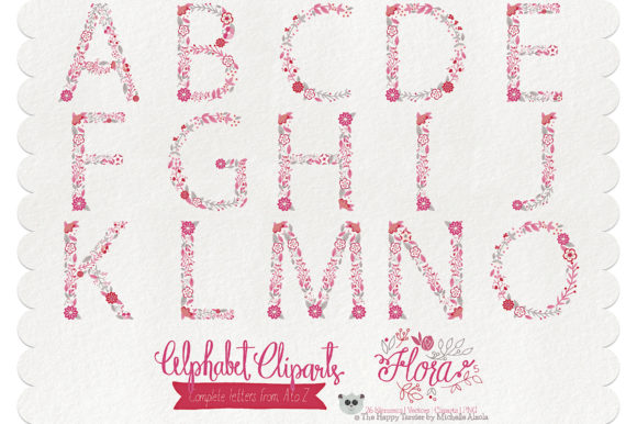 Print on Demand: Flora 05 Letters – Red & Pink Graphic Illustrations By Michelle Alzola - Image 2