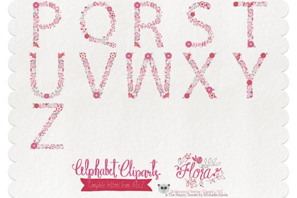 Print on Demand: Flora 05 Letters – Red & Pink Graphic Illustrations By Michelle Alzola - Image 3