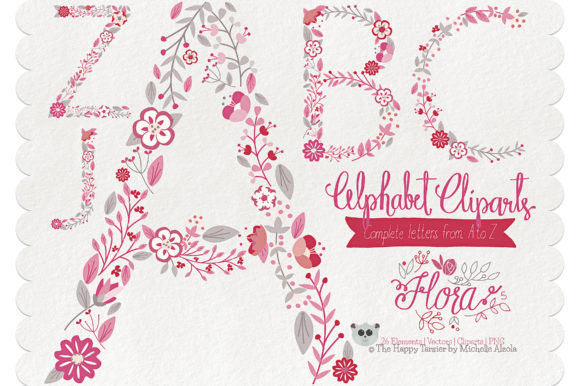 Print on Demand: Flora 05 Letters – Red & Pink Graphic Illustrations By Michelle Alzola