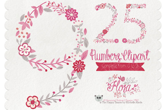 Print on Demand: Flora 05 Numbers – Red & Pink Graphic Illustrations By Michelle Alzola - Image 1