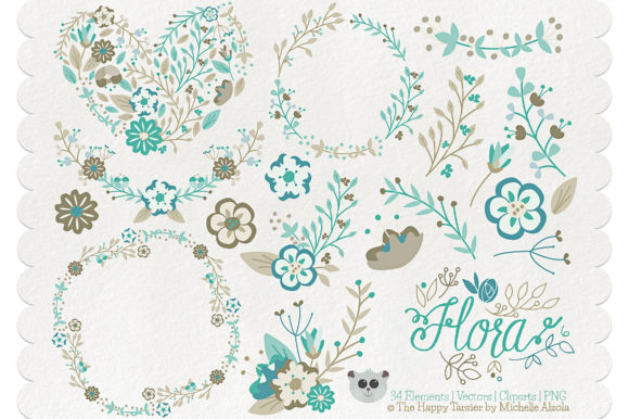 Print on Demand: Flora 06 – Teal & Brown Graphic Illustrations By Michelle Alzola - Image 1