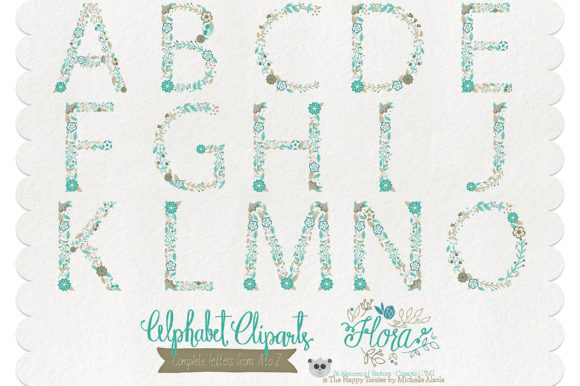 Print on Demand: Flora 06 Letters – Teal & Brown Graphic Illustrations By Michelle Alzola - Image 2