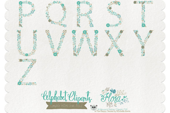 Print on Demand: Flora 06 Letters – Teal & Brown Graphic Illustrations By Michelle Alzola - Image 3