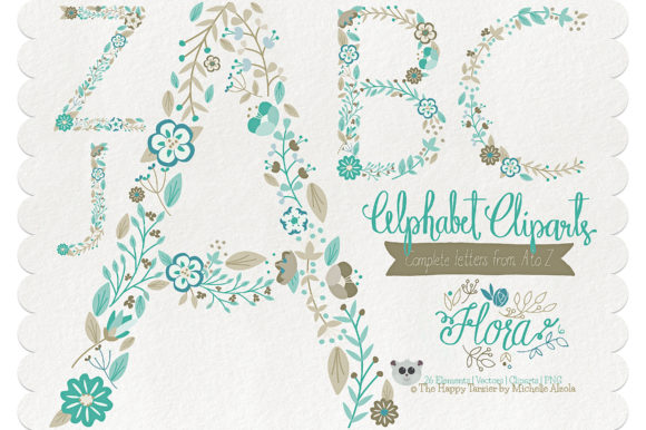 Print on Demand: Flora 06 Letters – Teal & Brown Graphic Illustrations By Michelle Alzola