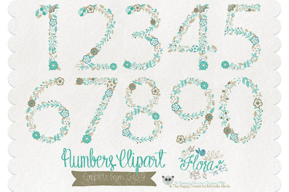 Print on Demand: Flora 06 Numbers – Teal & Brown Graphic Illustrations By Michelle Alzola - Image 2