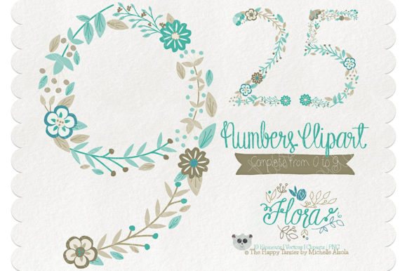Print on Demand: Flora 06 Numbers – Teal & Brown Graphic Illustrations By Michelle Alzola - Image 1