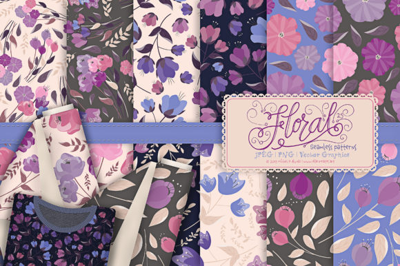 Print on Demand: Flora 25 - Purple Seamless Patterns Graphic Patterns By Michelle Alzola