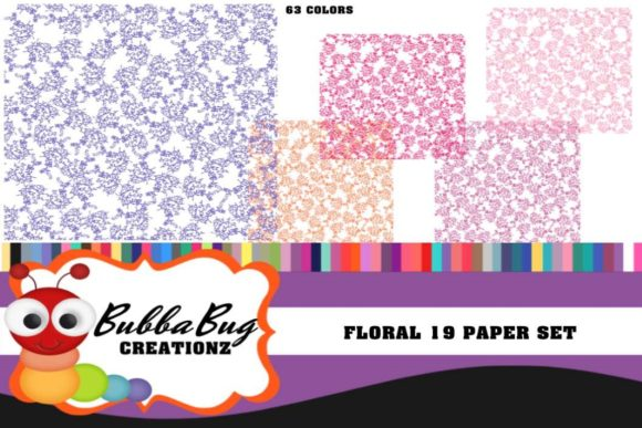 Floral 19 Paper Set Graphic Backgrounds By BUBBABUG