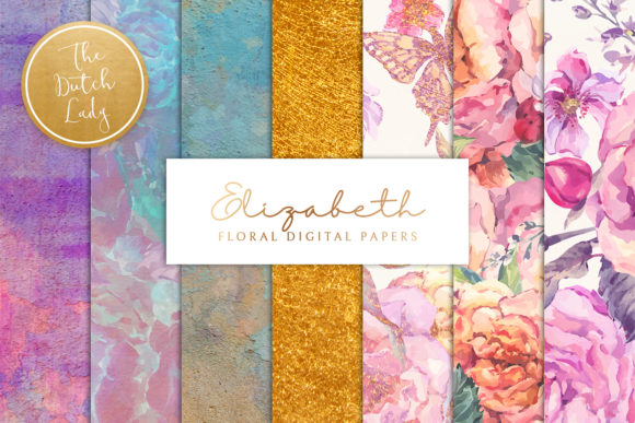Print on Demand: Floral Background & Paper - Elizabeth Graphic Textures By daphnepopuliers