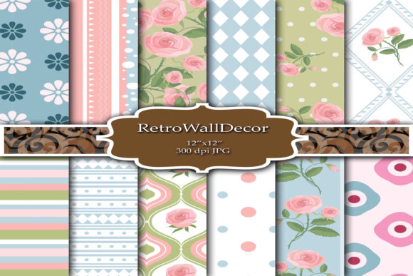 Print on Demand: Floral Digital Paper Graphic Backgrounds By retrowalldecor - Image 1