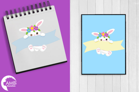 Floral Easter Bunny Clipart AMB-2192 Graphic Illustrations By AMBillustrations - Image 5