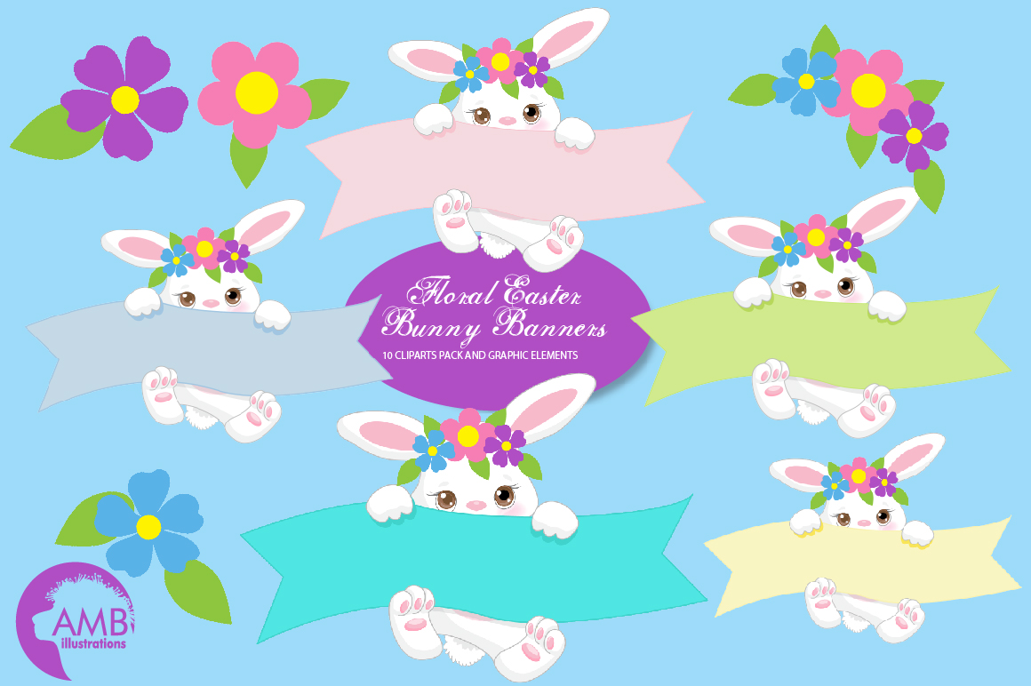 Download Free Floral Easter Bunny Clipart Amb 2192 Graphic By Ambillustrations for Cricut Explore, Silhouette and other cutting machines.
