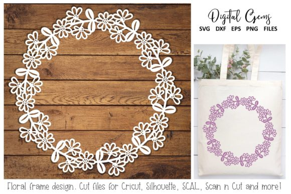 Download Free Floral Monogram Frame Design Graphic By Digital Gems Creative for Cricut Explore, Silhouette and other cutting machines.