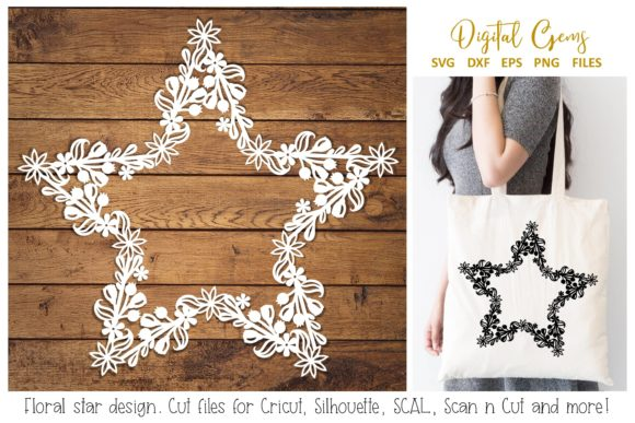 Download Free Floral Star Design Graphic By Digital Gems Creative Fabrica for Cricut Explore, Silhouette and other cutting machines.