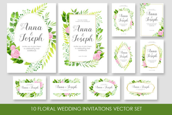 Floral Wedding Invitations Vector Set Graphic By Nata Art Graphic