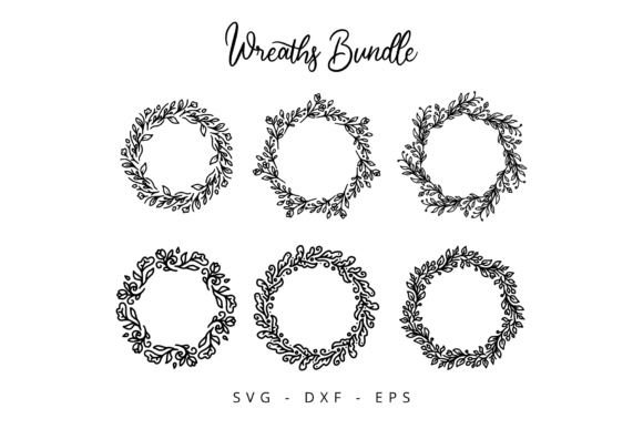 Print on Demand: Floral Wreaths Bundle Graphic Crafts By herbanuts